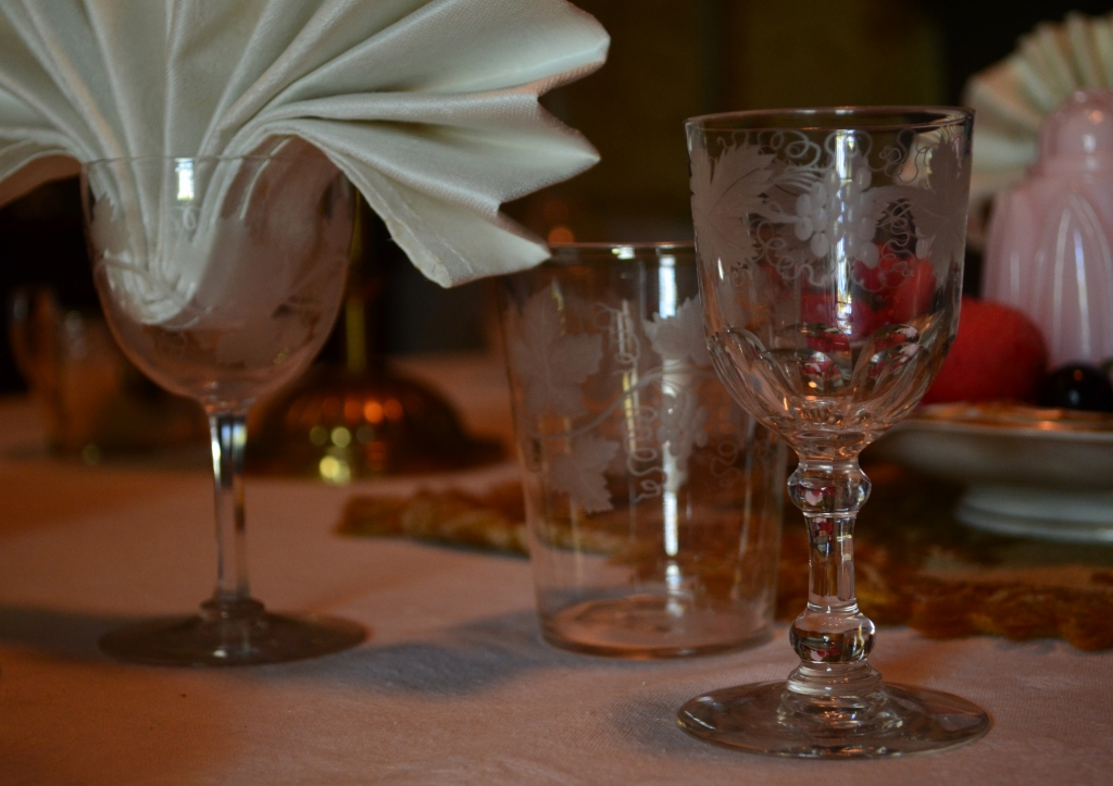 Vine etched glassware, part of a table setting at Rouse Hill House.