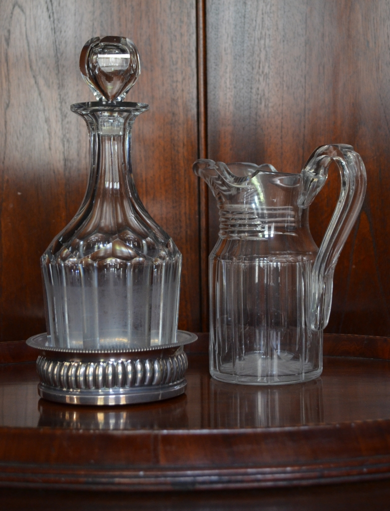 Crystal decanter and water jug in the butlers pantry at Elizabeth Bay House