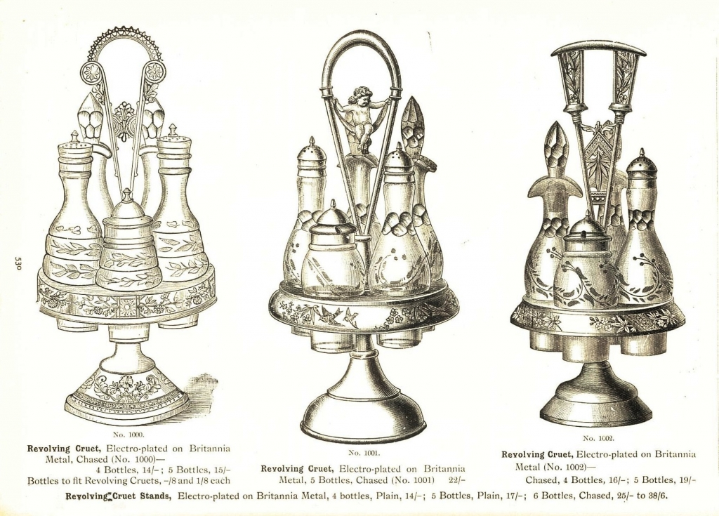 Revolving cruet sets advertised by Anthony Hordern & Sons in their July 1914 catalogue page 530
