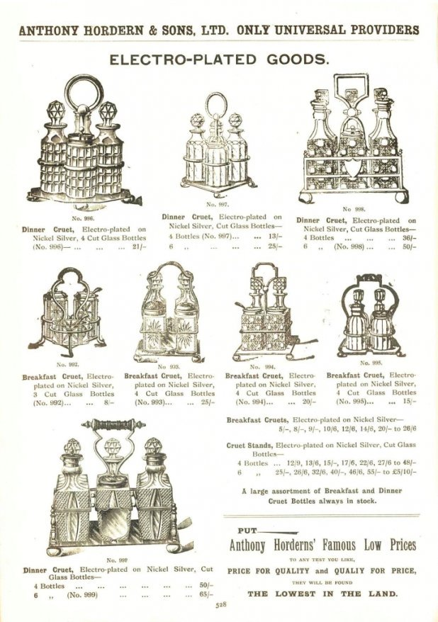 Cruet stands advertised by Anthony Hordern and Sons in their July 1914 catalogue page 528