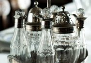 Detail of a silver plate oval cruet set by Crispin Fuller