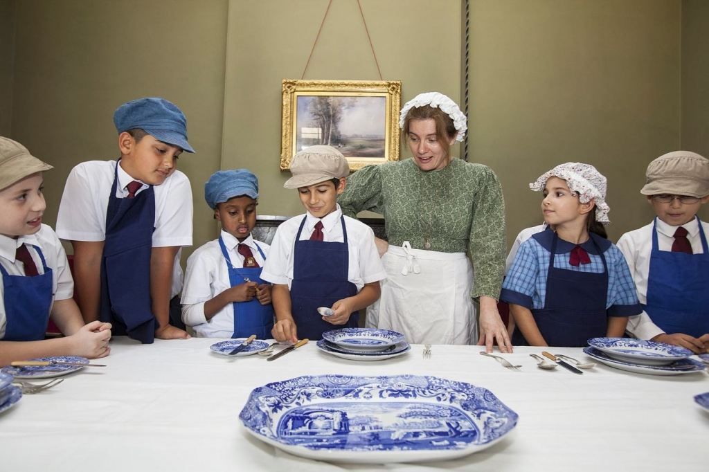 "Children learning Victorian ""Table language"" at Elizabeth Farm."