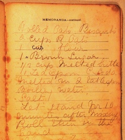 Rolled oat biscuits recipe (now known as Anzac biscuits) undated.