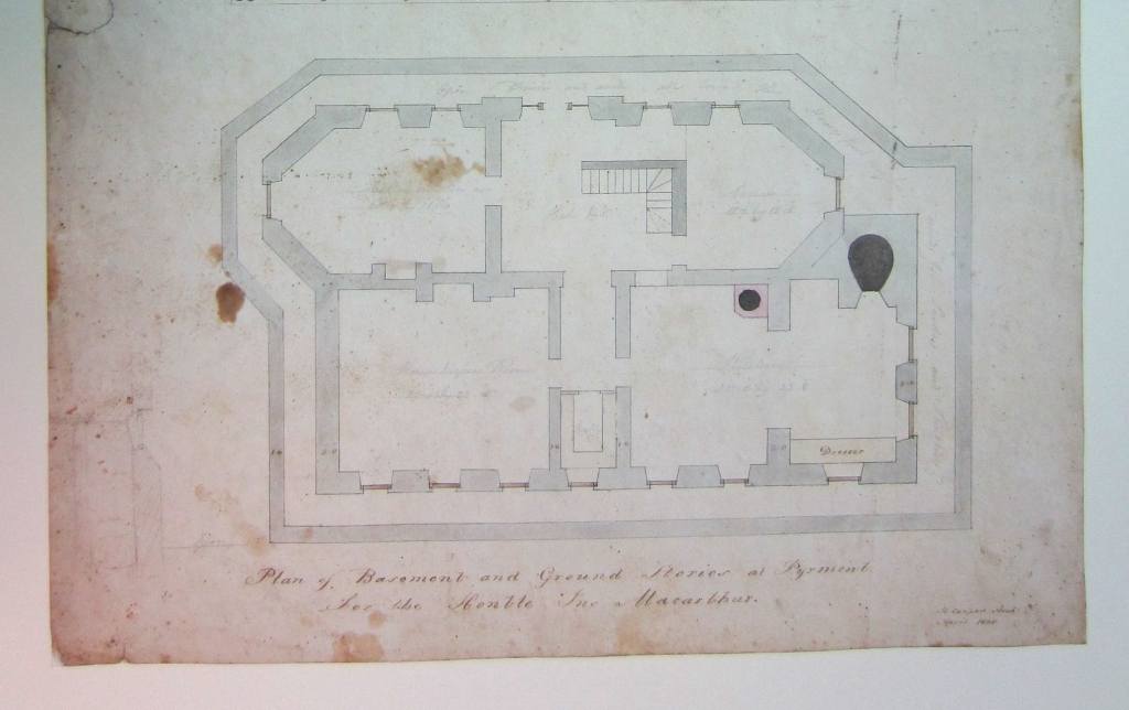 Plan of a subterranean kitchen with baking oven in the corner