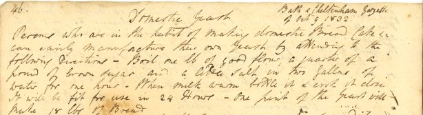 Recipe for domestic yeast 1832