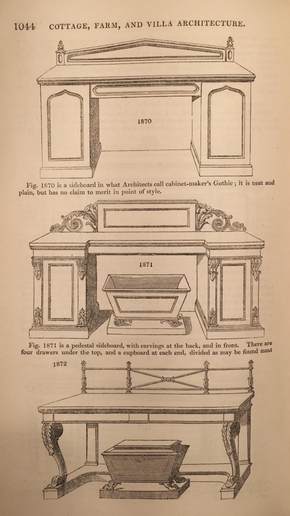 Sideboard designs from Loudon's 'Encyclopaedia of Cottage, farm and villa architecture', 1833