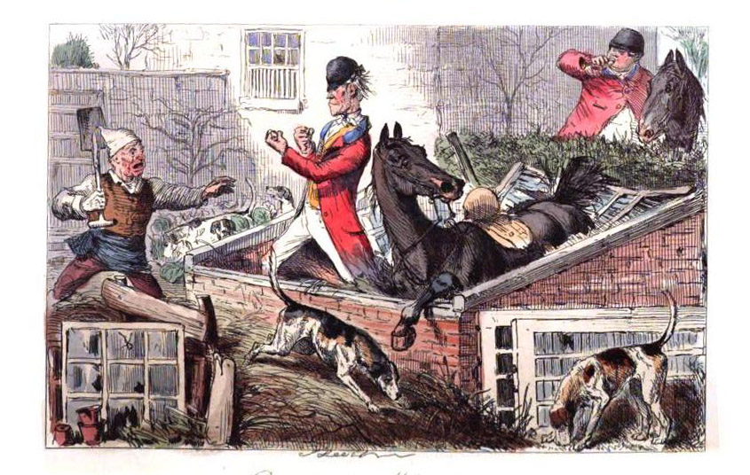 Coloured illustration of a horse and rider inside a broken brick structure surrounded by fox hounds