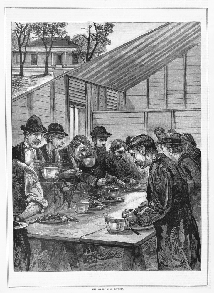 A view of destitute people eating at a table at the Sydney soup kitchen. From The Australasian Sketcher; June 4, 1883. State Library of Victoria collection
