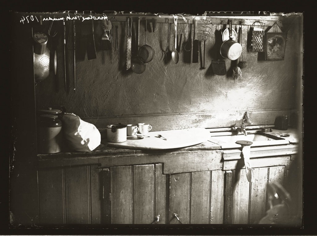 "Domestic interior, showing kitchen, sink, mugs and utensils, inscribed ""Hurlstone Park Murder 1074""."