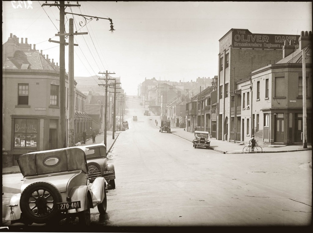 Street scene, Liverpool Street, Darlinghurst, near corner of Riley Street, looking east, around 1938.
