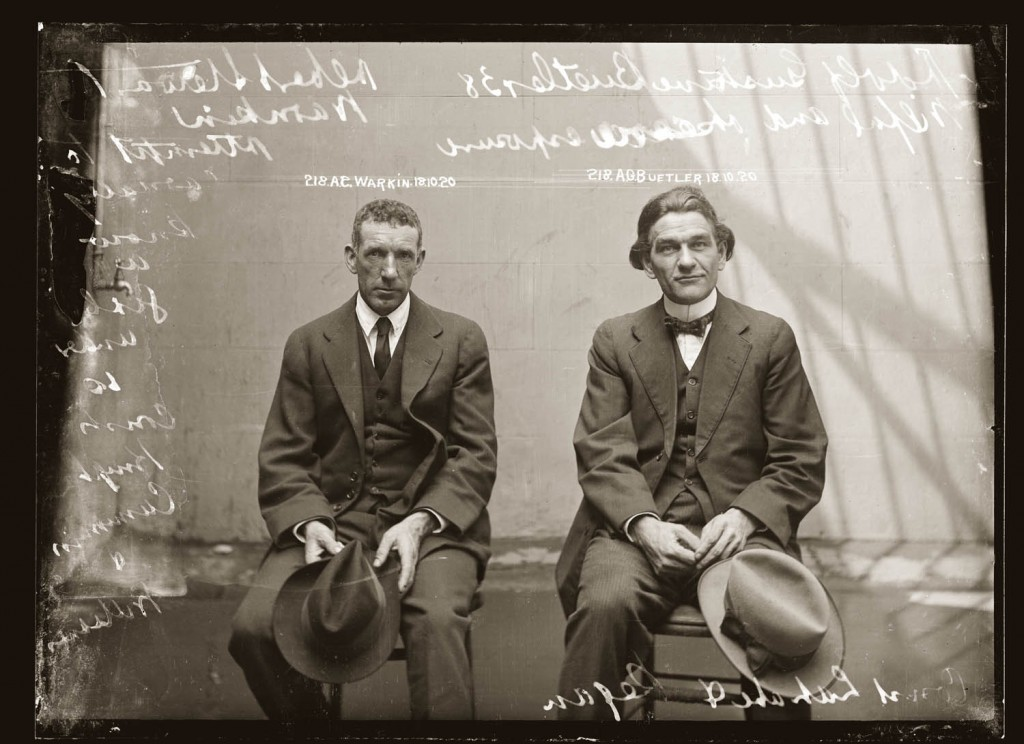 Mug shot of Albert Stewart Warnkin and Adolf Gustave Beutler, 18 October 1920, Central Police Station, Sydney.