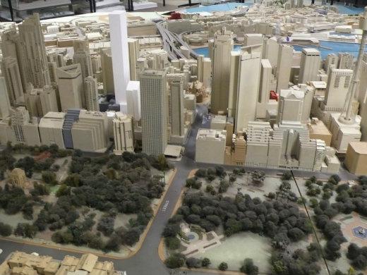 Model of Hyde Park and Sydney CBD