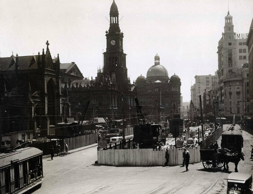 Sydney town hall and george st during the construction of town hall