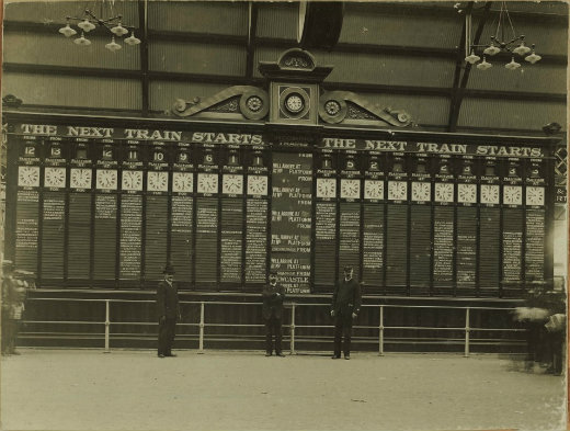The indicator board in 1906 - now on display in the Powerhouse Museum.
