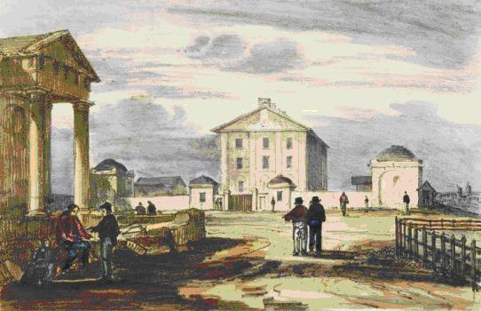 Hyde Park Barracks [1836] detail showing the guardhouses with their original domes. The large domed pavilion to the right pavilion was demolished in 1918. Museum of Sydney on the site of first Government House collection.