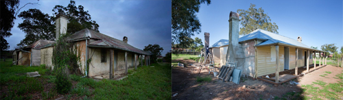 before and after photograph of colonial cottage restoration